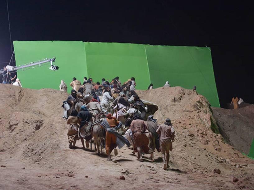 <p>Gravação da cena do Mar Vermelho na novela Os Dez Mandamentos</p>