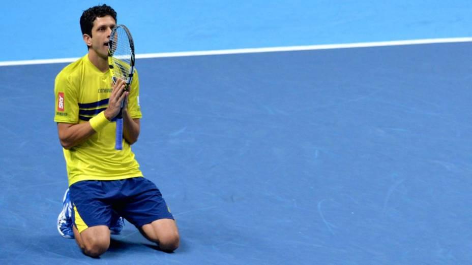 O tenista brasileiro Marcelo Melo comemora a classificação para a final de duplas do ATP Finals, em Londres