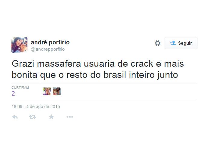 Tuíte sobre Crack Massafera