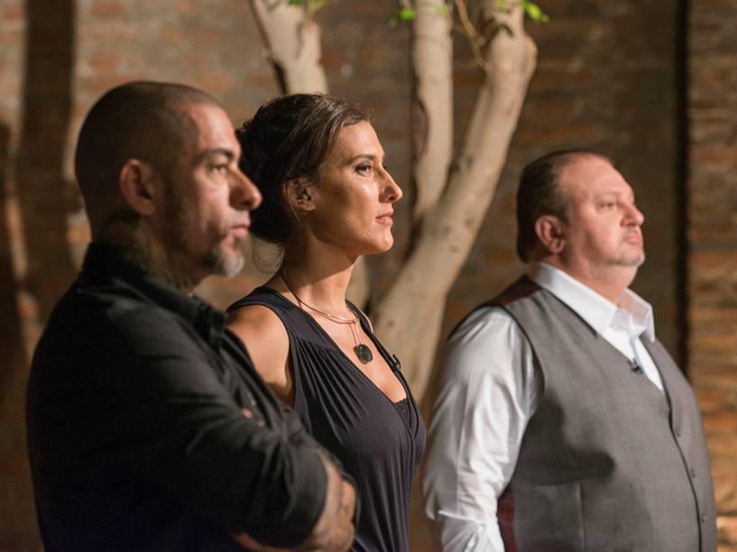 Os chefs Erick Jacquin, Paola Carosella e Henrique Fogaça, do programa Masterchef Brasil