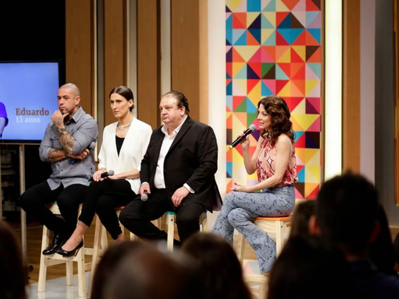 Os jurados e a apresentadora Ana Paula Padrão, na coletiva do MasterChef Júnior, nesta terça na Rede Bandeirantes