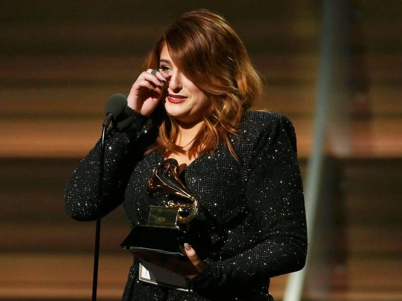 Meghan Trainor durante 58ª edição do Grammy, premiação que elege os melhores da música internacional, que acontece nesta segunda-feira (15)