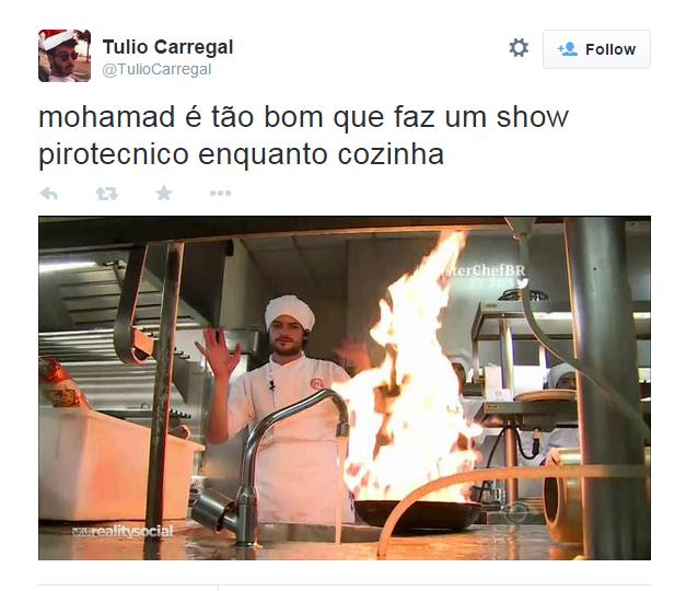 Mohamad Hindi Neto coloca fogo em frigideira e vira piada