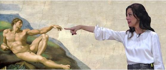 Em meme, a apresentadora do MasterChef, Ana Paula Padrão, interage com o afresco de Michelangelo, A Criação do Homem