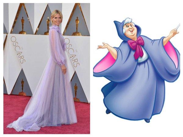 Roupa usada pela modelo Heidi Klum no Oscar 2016 foi comparada à da fada-madrinha, personagem de conto de fadas