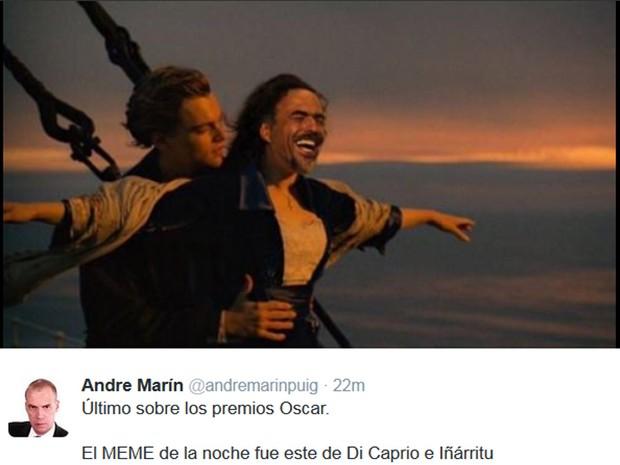 Na internet, pessoas brincaram com cena do Titanic: no lugar de Kate Winslet, o diretor Alejandro Iñarritu, de O Regresso, filme que rendeu o Oscar a DiCaprio