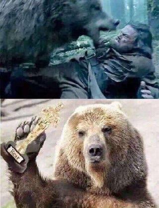 Meme brinca com cena de O Regresso, em que personagem de Leonardo DiCaprio é atacado por um urso