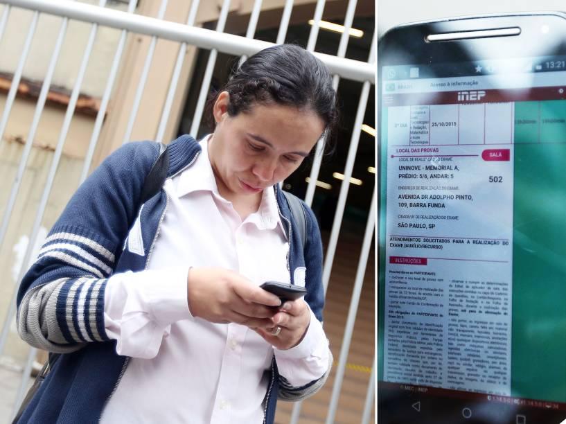 Mesmo com a informação em seu cartão de prova, Mariluce Mariano, 31, foi barrada no segundo dia do Enem por não ter seu nome na lista do local - 25/10/2015