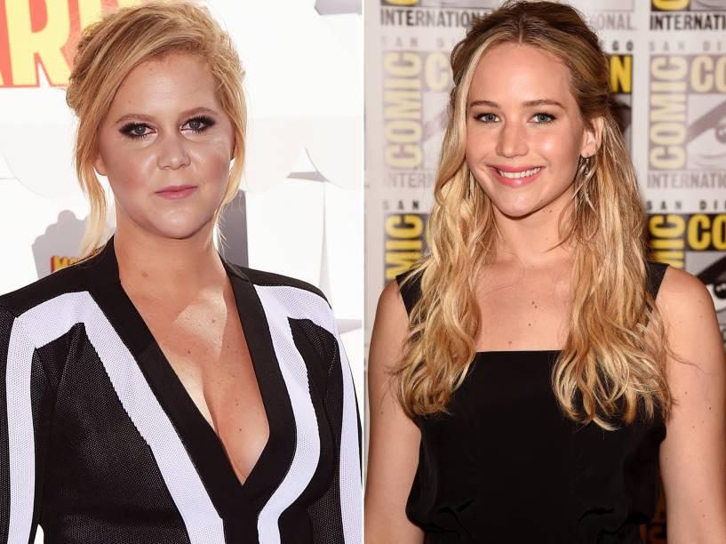 As atrizes Amy Schumer e Jennifer Lawrence