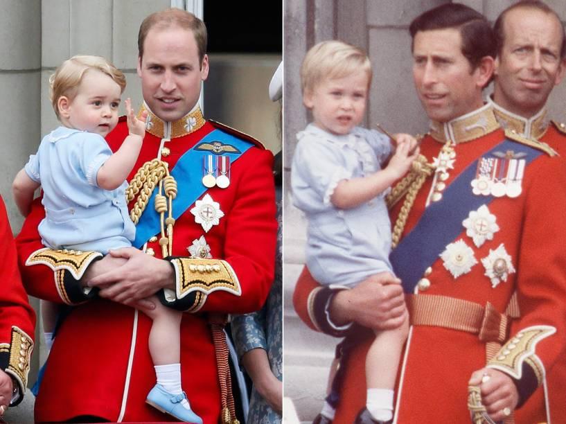 Príncipe George aparece com a mesma roupa que seu pai William usou em 1984, durante o desfile militar em homenagem ao aniversário da rainha Elizabeth II, no Palácio de Buckingham, em Londres- 13/06/2015