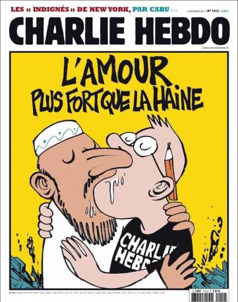 """""""O amor: mais forte que o ódio"""". Charge satiriza as ameaças sofridas pela revista Charlie Hebdo coma  publicação de charges sobre o islamismo"""