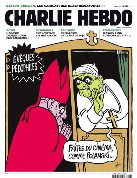 Charge da revista Charlie Hebdo sobre pedofilia na Igreja Católica