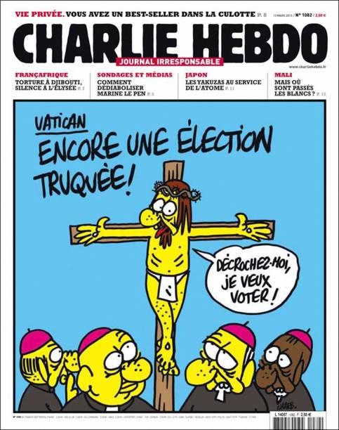 """Charge da revista francesa Charlie Hebdo com figura de Jesus querendo votar em """"eleição fraudada no Vaticano"""""""