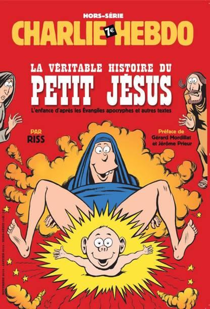 """Capa da revista Charlie Hebdo com a chamada: """"A verdadeira história do pequeno Jesus - A infância segundo Evangelhos apócrifos e outros textos"""""""