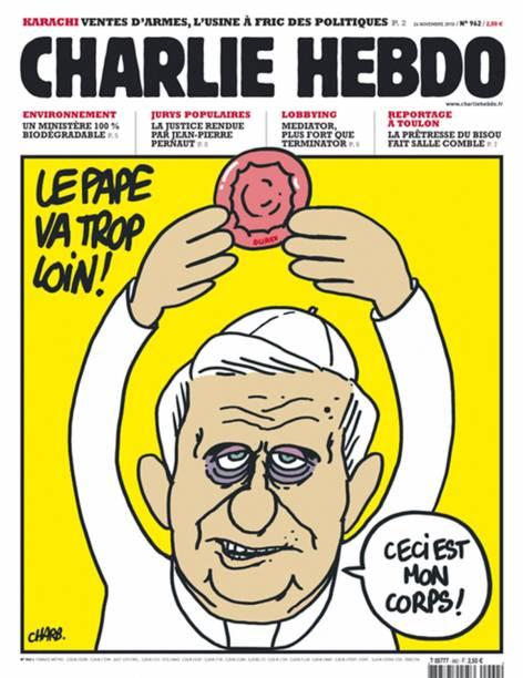 """Mais uma charge que tem como alvo a Igreja Católica, desta vez, dizendo que o papa Bento XVI """"vai longe demais"""". """"Este é meu corpo""""."""