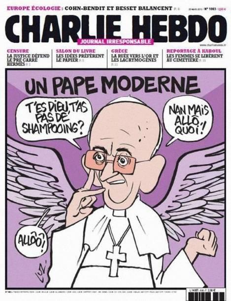 O líder da Igreja Católica também foi alvo do humor dos chargistas franceses