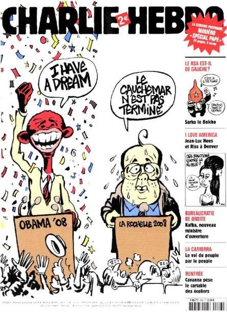 """Charge coloca Barack Obama com a famosa frase de Martin Luther King """"Eu tenho um sonho"""", ao lado do presidente François Hollande, que declarou em um congresso do Partido Socialista: """"O pesadelo não terminou"""""""