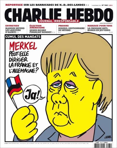 Charge questiona se a chanceler Angela Merkel poderá dirigir a Alemanha e a França