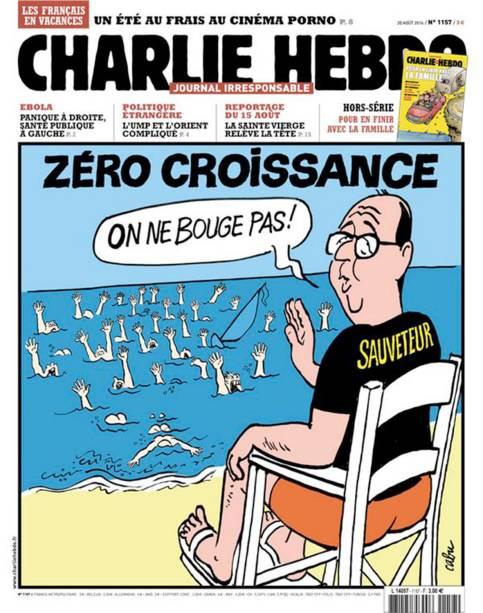O presidente François Hollande diz que nada muda, diante dos problemas econômicos do país, em charge da revista Charlie Hebdo