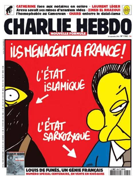 """Mais uma charge de cunho político: """"Eles ameaçam a França! Ele é islâmista. Ele é Sarkozista"""", em referência ao ex-presidente Nicolas Sarkozy"""