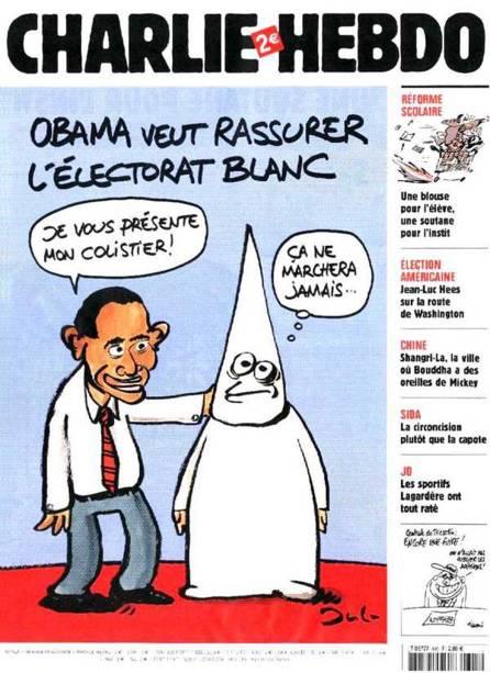 """O presidente americano Barack Obama também foi satirizado, em uma tentativa de atrair o eleitorado branco. """"Eu apresento a vocês meu companheiro de chapa"""""""