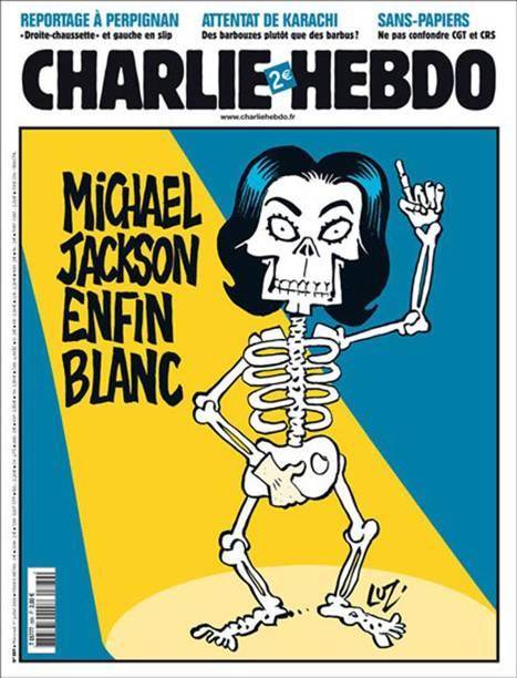 """""""Michael Jackson finalmente fica branco"""", diz a charge, em provocação à aparência do cantor americano"""