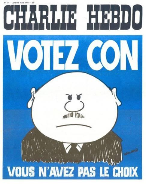 """Charge publicada em 1971 diz: """"Vote, idiota. Você não tem escolha."""""""