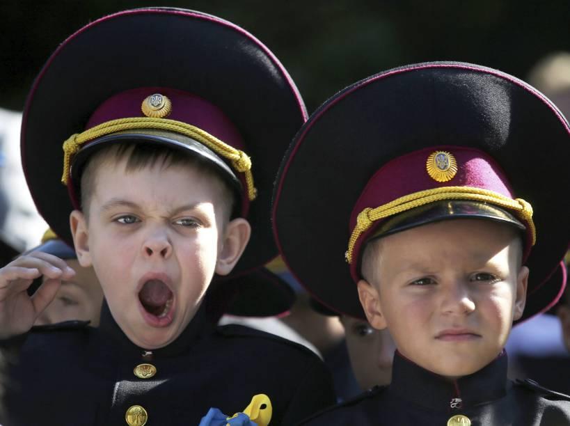 Alunos da Escola de Cadetes durante o primeiro dia na academia militar de Kiev, Ucrânia - 01/09/2014