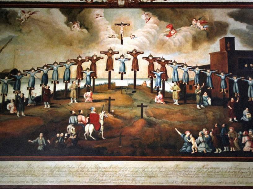 Quadro representando o martírio de 26 cristãos em Nagasaki no Japão no final do século XVI