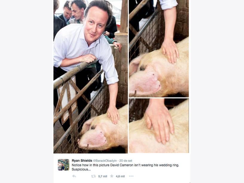 """""""Repare que nesta imagem David Cameron não está usando aliança. Suspeito..."""""""