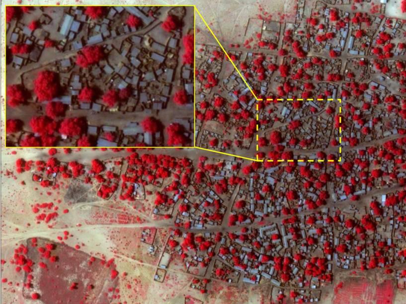 Imagem de satélite da vila Doro Baga, na Nigéria, no dia 02 de janeiro de 2015