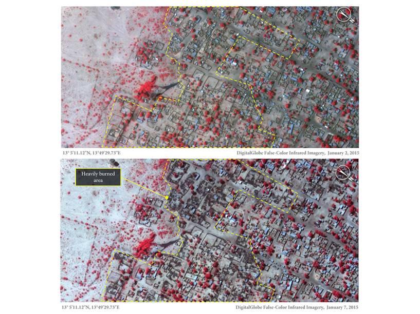 Imagens de satélite registradas nos dias 02 e 07 de janeiro comparam a vila de Baga, no nordeste da Nigéria, antes e depois do ataque do Boko Haram. As áreas escuras foram incendiadas; as partes em vermelho representam vegetação saudável remanescente