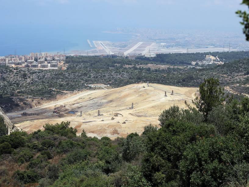Vista geral do aterro sanitário de Naameh, ao sul de Beirute, no Líbano