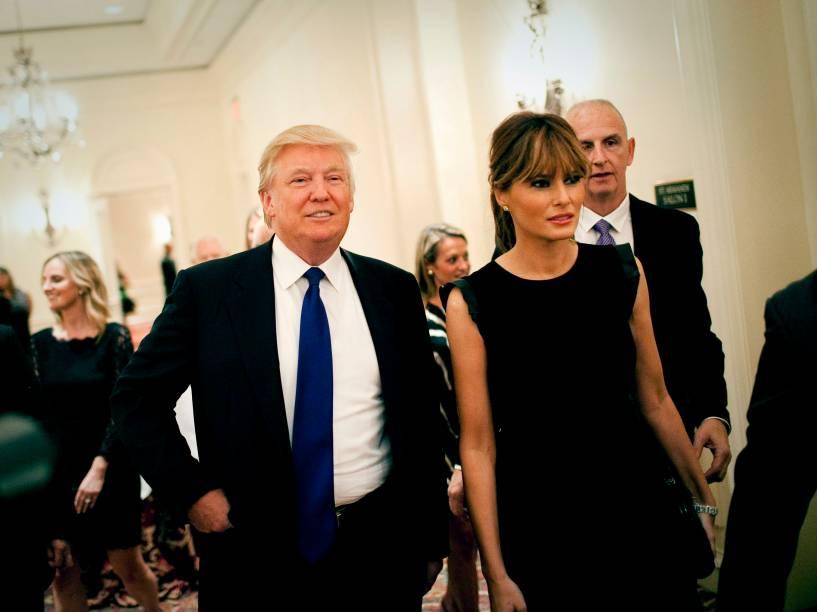 Donald Trump com sua esposa, Melania em 2012