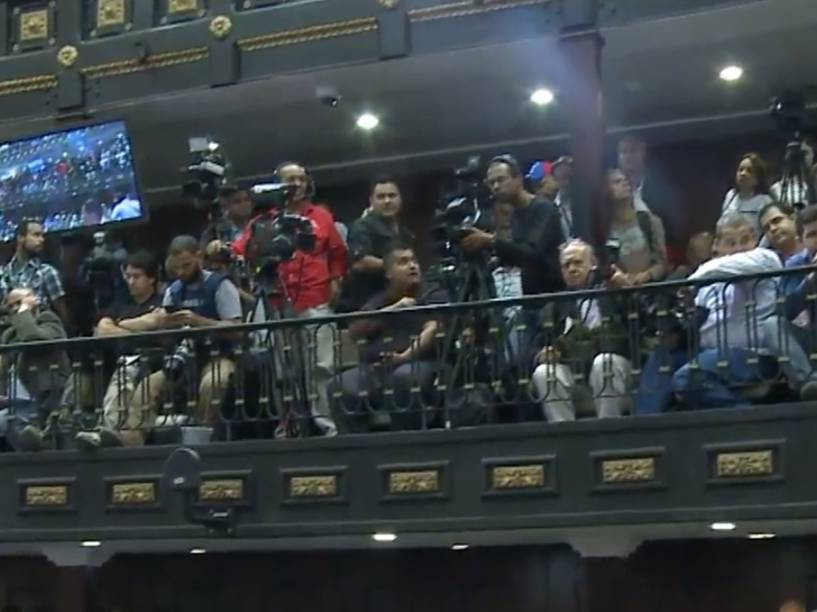 Imprensa na Assembleia Nacional em Caracas
