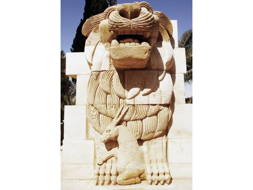 Escultura do Leão de Alat na cidade histórica de Palmira, na Síria