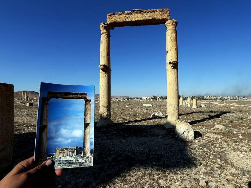 O Templo do Baal, na cidade de Palmira, na Síria, após os ataques do grupo Estado Islâmico - 31/03/2016