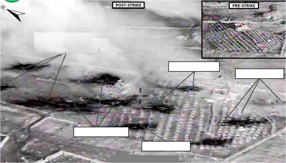 Imagem divulgada pelo Departamento de Defesa dos Estados Unidos mostra centro de testes em Abu Kamal, na Síria, antes e depois de ataque - 23/09/2014
