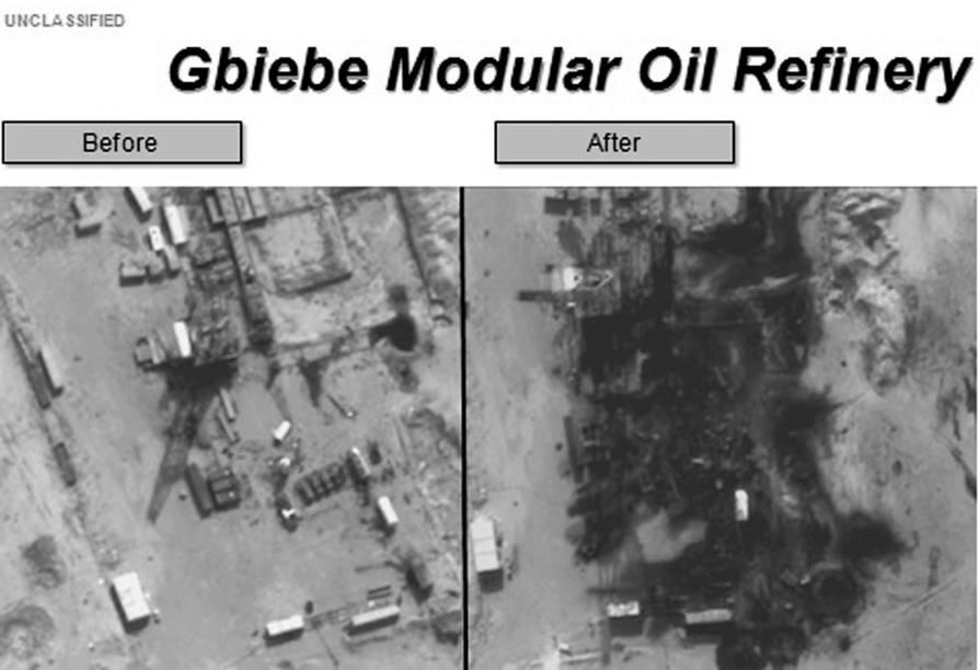 Imagens divulgadas pelo Departamento de Defesa dos Estados Unidos mostram danos à Refinaria de Petróleo Gbiebe na Síria - 25/09/2014
