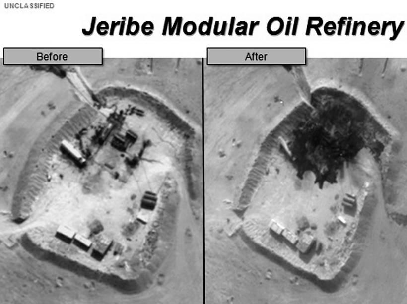 Imagens divulgadas pelo Departamento de Defesa dos Estados Unidos mostram danos à Refinaria de Petróleo Jerive na Síria - 25/09/2014