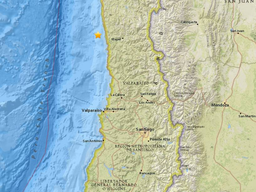 Mapa mostra o local do epicentro do terremoto de magnitude 8,3 na costa do Chile - 16/09/2015