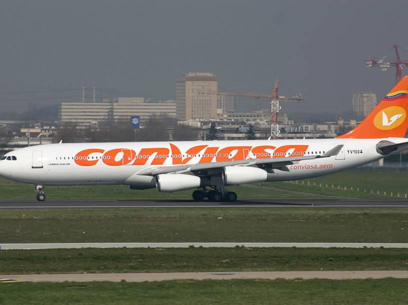 """Airbus A340 que fazia a rota Caracas-Damasco-Teerã. O trecho ganhou o apelido de """"Aeroterror"""""""
