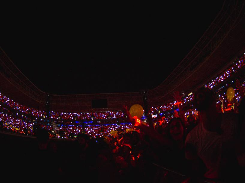 O estádio do Palmeiras ficou lotado para o show da banda Coldplay