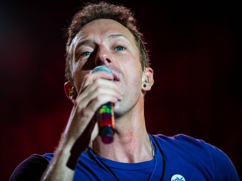 Chris Martin, vocalista da banda britânica Coldplay durante apresentação no Allianz Parque em São Paulo - 07/04/2016