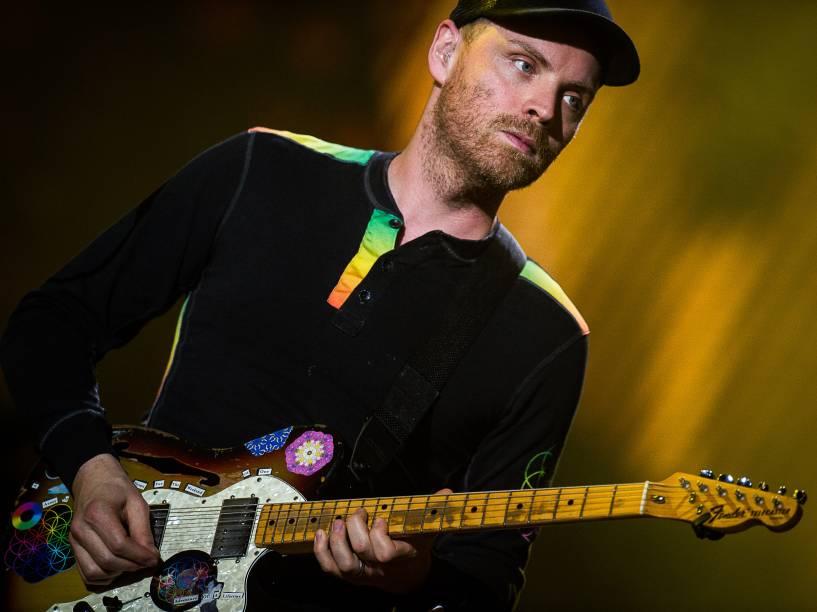 Jonny Buckland, guitarrista do Coldplay durante show da turnê A Head Full of Dreams em São Paulo - 07/04/2016