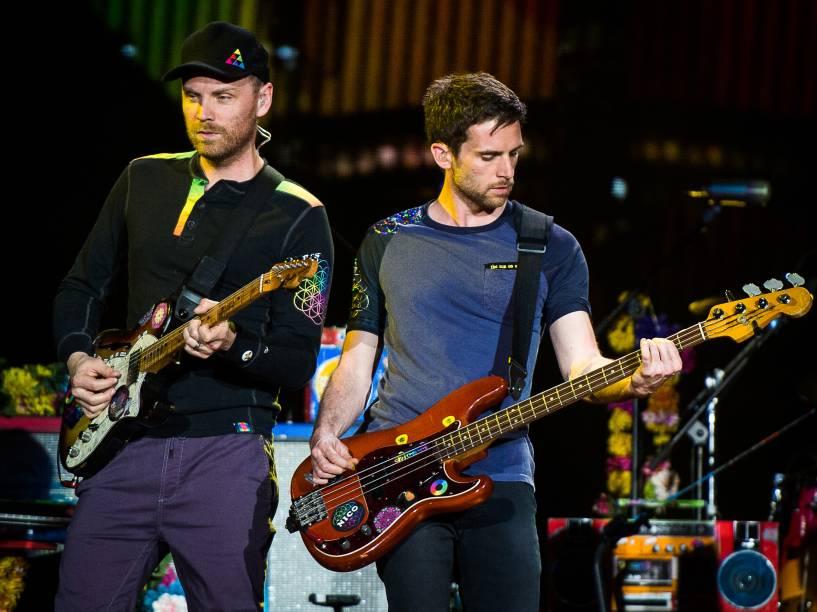 Jonny Buckland e Guy Berryman do quarteto britânico Coldplay que este ano completa vinte anos de existência - 07/04/2016