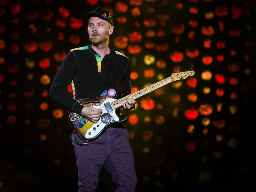 Jonny Buckland, guitarrista da banda britânica Coldplay durante show no Allianz Parque em São Paulo - 07/04/2016