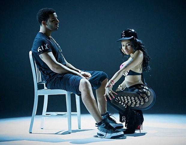 O rapper Drake e a cantora Nicki Minaj no clipe de Anaconda