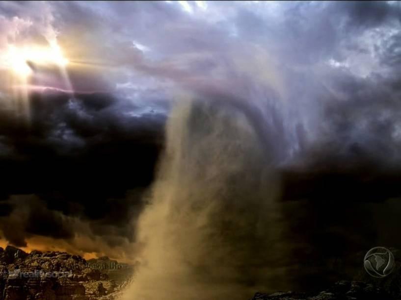 <p>Anjo desce do céu para proteger os hebreus 'Os Dez Mandamentos'</p>