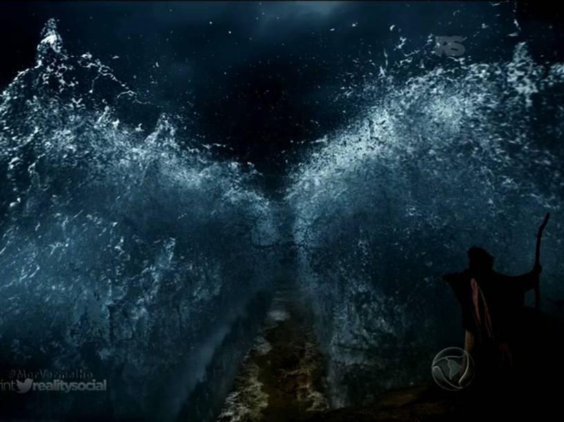 <p>Moisés (Guilherme Winter) abre o Mar Vermelho em 'Os Dez Mandamentos'</p>